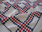 Tiny Pieces! Antique Patriotic Americana Red White & Blue Irish Chain QUILT