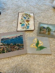 Lot of (4) Vintage  Finished Needlepoint Pieces, Day Lily, flowers, landscapes,