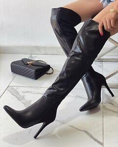 Scarpe Donna Stivali Alti Donna Tacco Alto Stivali a punta Sopra al Ginocchio IT