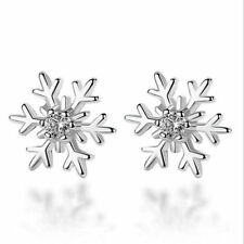 Fashion Lady Jewelry 925 Silver Crystal Christmas Snowflake Stud Earrings Gift