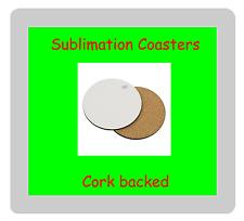 100 x MDF Blank Sublimation Round Coasters 9cm diameter cork backed