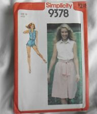 Simplicity 9378 Ladies Jumpsuit Shorts Button Front Skirt Size 12 Sewing Pattern