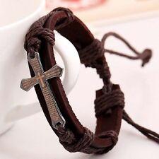 Adjustable Punk Leather Bracelet Cross Religious Retro String Bangle Wristband