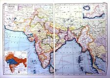 Vintage Antique Original 1920 Print Map Of India And Raininess Chart