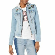 TOMMY HILFIGER NEW Womens Patched Hooded Full-zip Denim...