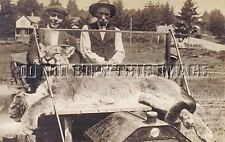 Antique 8x10 Photograph Reprint Hunter'S With Huge Mountain Lion Cougar On Car
