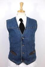 mens blue WRANGLER denim jean vest jacket blanket lined classic cowboy western L