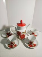Mid Century Mod  10pc Tea Set White Glazed Pottery Red Flower Cups & Saucers