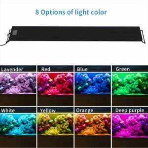 Aquarium Light 8 Colors Auto On Off LED Full Spectrum Light Fixture Freshwater