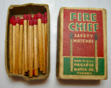 """Vintage """"Fire Chief"""" Safety Matches Box with Matches"""