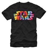 Star Wars Tie Dye Logo Black Men's T-Shirt New