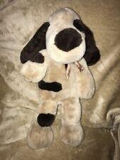 "15""Toy Works Tan  Brown Spot eye patch Sleeping Puppy Dog W/Bow Toy plush #9"