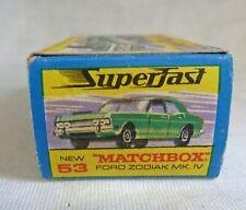 Matchbox Superfast MB53 Ford Zodiac with RARE ERROR BOX ZODIAK