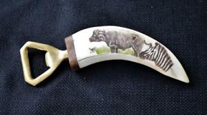 """Unique African 6"""" bottle opener Hand-engraved and signed by artist"""