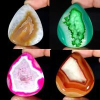 Multi Colour Onyx Agate Druzy Pear Cabochon Loose Gemstone Collection