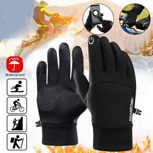 Mens Winter Warm Windproof Waterproof Fleece Lined Thermal Touch Screen Gloves F