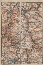 1905 BAEDEKER MAP-FRANCE-RIVER MEUSE IN TWO PARTS,SAUMUR,DINANT,MEZIERES