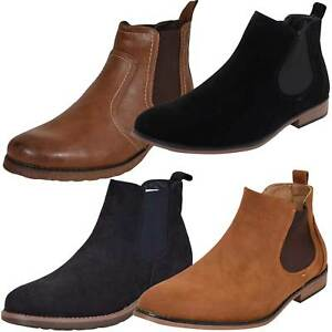 New Mens Outdoor Suede Leather Style Chelsea Style Boot Block Heel High Top Shoe
