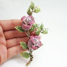 Elegant Pink Flower Rose Woman Brooch Pin Rhinestone Crystal Gold-Tone