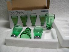 Barbuzzo Set of 4 Made from recycled Beer Bottles Green Shot Glasses
