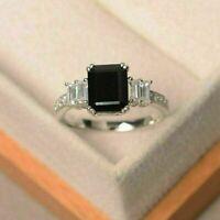 2.50Ct Emerald Cut Black Diamond Solitaire Engagement Ring 14K White Gold Finish
