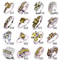 20 Style Fashion Women Topaz Jewelry Peridot Gemstone Silver Ring Gift Size 6-13