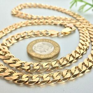 """HEAVY 9ct GOLD SOLID CURB MEN'S CHAIN 24 1/4"""" - 51.5g (1.65 toz)"""