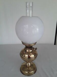 VERITAS BRASS OIL LAMP WITH FUNNEL AND WHITE BALL SHADE