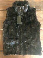 Qiuzbijie Women's Mink Vest, Brown Knit Back Size S/M NWT