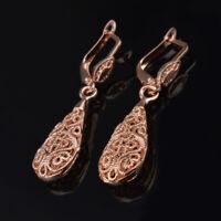 1 Pair Women Vintage Drop Dangle Hollow Flower Ear Hoop Stud Earrings Jewelry