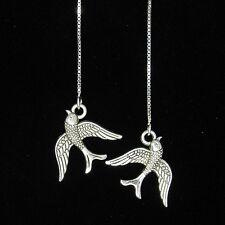 *SJ1* 3D Swallow Bird Charm Sterling Silver Threader Dangle Ear Thread Earrings