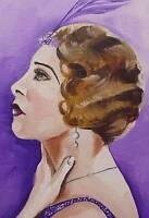 Original Painting Oil on Canvas Portrait  by GREGORY TILLETT : Shingled Showgirl