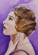 Dipinto originale olio su tela ritratto da Gregory Tillett: shingled Showgirl