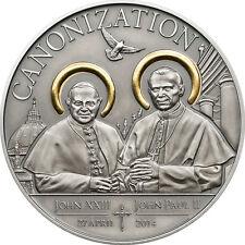 1000 Schillings 2014 Tanzania - Canonization of the Popes Ag antique vergoldet
