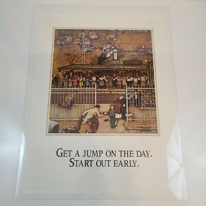 """Norman Rockwell Vintage Poster Print 17"""" x 22"""" Get a Jump on the Day"""