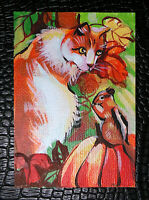 """Original art by Bastet """"Cat and Chipmunk"""" OOAK hand painted ACEO"""
