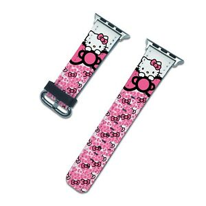 Hello Kitty pink Apple Watch Band SE 44 40 38 42 mm iWatch 6 5 3 4 2 Strap bands