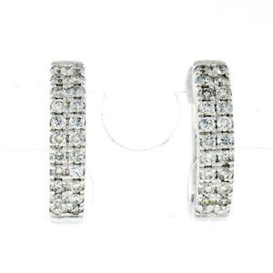 New 10K White Gold 0.32ctw Dual Row Round Diamond Petite Hoop Huggie Earrings