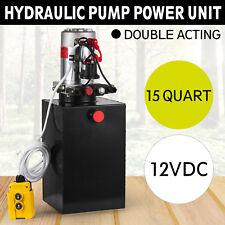 15 Quart Double Acting Hydraulic Pump Dump Trailer Lift Power Unit Truck 12V