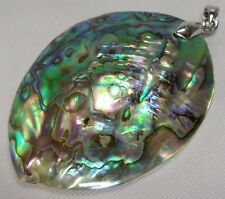 Natural Shiny Rainbow Paua Abalone Sea Shell Gemstone Sterling Silver Pendant