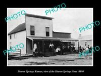 OLD LARGE HISTORIC PHOTO OF SHARON SPRINGS KANSAS, THE SHARON SPRINGS HOTEL 1890