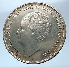 1944 Netherlands Kingdom Queen JULIANA Antique Silver 2 1/2 Gulden Coin i73877