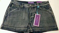 Womens New Deja Bleu NY Denim Shorts with Rinestone Accents SZ 16 NWT 613