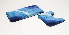 """2 teiliges Badematten Set, Badgarnitur,"""" Wave"""", blau mit Ausschnitt"""