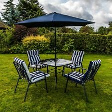 6 PIECE OUTDOOR GARDEN PATIO FURNITURE SET PADDED CUSHIONS CHAIR TABLE & PARASOL