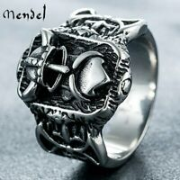 MENDEL Mens Stainless Steel Norse Odin Viking Ring Wedding Band Amulet Size 8-13
