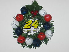"Jeff Gordon #24 NASCAR 3.5"" Jingle Bell Wreath Hanging Christmas Ornament"