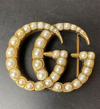 Gucci Pearl Bead Studded Belt Buckle - Large 7.5cm X 5.8cm