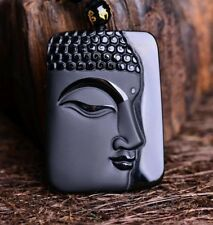 Volcanic Protective Obsidian Amulet Buddha Pendant Necklace - Hand Carved