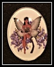 Glass Cabochon, Oval, 40x30mm, Fairy on a flower